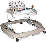 MamaLoes Ding Star Lauflernhilfe/Lauflernwagen mit Wippfunktion/Wippstuhl 2 in 1, beige, Gehfrei mit fröhlichem Spielecenter W1125DA2
