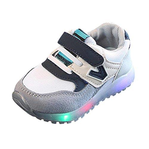 SOMESUN Baby Jungen Mädchen LED Licht Sport Schuhe Kinder Fashion Leuchtend Weiche Sohle Elastisch Atmungsaktiv Mesh Klassisch Beiläufig Freizeit Turnschuhe (EU24, Grau-Licht)