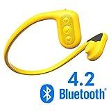 Tayogo Lettore MP3 Cuffie a Conduzione Ossea IPX8 Subacqueo Nuoto 5m FM 8GB Bluetooth 4.2 Pedometro APP da Controllare Perfetto per Nuoto Corsa Ciclismo Immersione Passeggiata Terme ecc (Giallo)