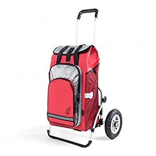 Andersen shopping trolley Royal XXL with pneumatic wheels and bag Hydro red Volume 60 Litre with thermal compartment