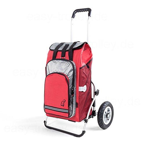 XXL Royal Einkaufstrolley | große Lufträder | abnehmbare Einkaufstasche Hydro als Rucksack verwendbar, Kühlfach | rot