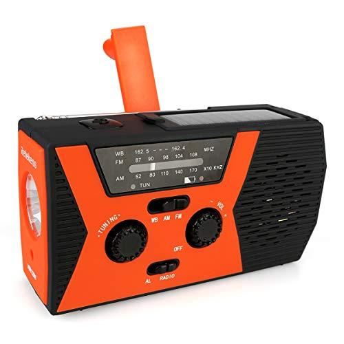 Retekess HR 12W Portabile AM FM Manovella Solare Emergenza Radio Wind Up Radio con Torcia Elettrica Luce da Lettura Regolabile SOS Allarme Funzione Adatta a Famiglia Campeggio