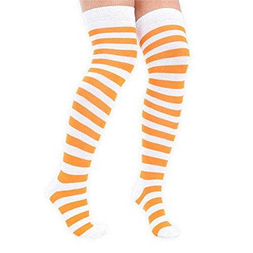 adam & eesa 3 Paar Frauen Volle Streifen über den Knie Socken Kostüm Overknees Cosplay Cheerleader Socken Orange & - Paar Socken Kostüm