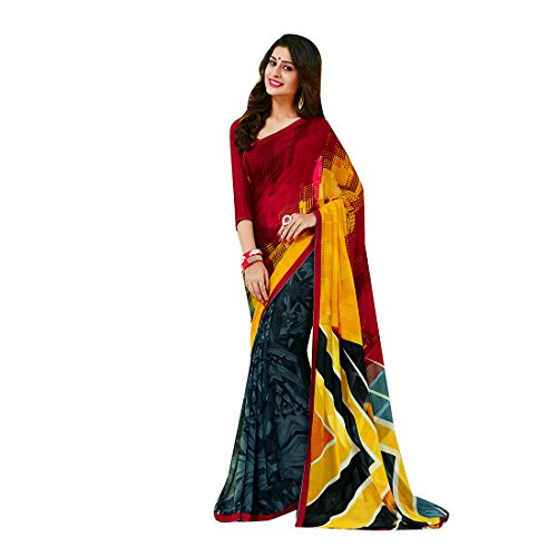 Subhash Sarees Maroon and Grey Color Georgette Printed Saree  available at amazon for Rs.1016