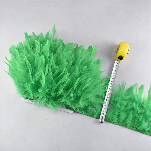 Grüne Kostüm Streifen - SHFives 10Meter / Lot Fluffy Truthahnfedern Trim Ribbon 4-6 Zoll Feder für Handwerk Trimmen Streifen Rock Karneval Kostüme Plume, grün
