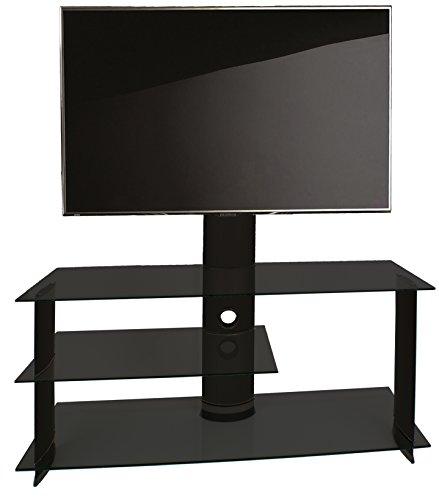 """VCM TV Rack Lowboard Konsole Fernsehtisch LCD LED Möbel Bank Tisch Schrank Aluminium Schwarz / Schwarzglas \""""Bulmo\"""""""