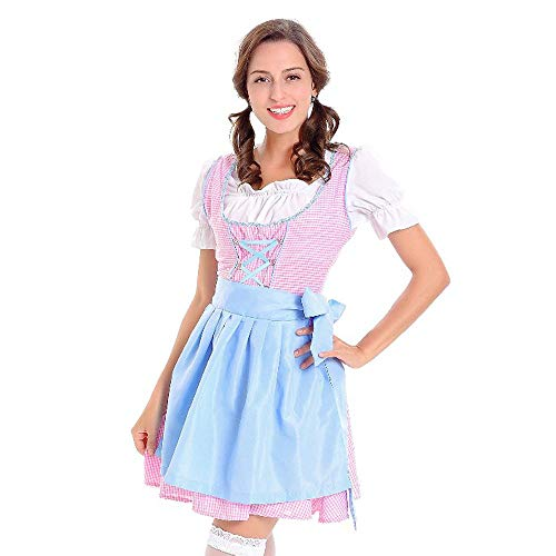 Bayerisches Mädchen Bier Kostüm - DAY.LIN Kleider Damen Frauen Oktoberfest Kostüm Bayerisches Bier Mädchen Drindl Tavern Maid Dress Bierfest Dienstmädchen Kostüm Kostüm Stickerei Kleid (Blau 2, EU36 /M)
