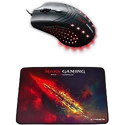 Mars Gaming MM0 - Ratón óptico gaming + MMP1 - Alfombrilla de ratón