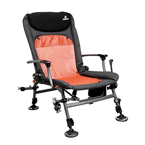 Chaises de pêche Chaise Pliante Chaise De Camping Chaise D'extérieur Multifonctionnel Pieds Allongés Peut Supporter 120 Kg Cadeau (Color : Orange, Size : 84-95 * 55 * 60cm)