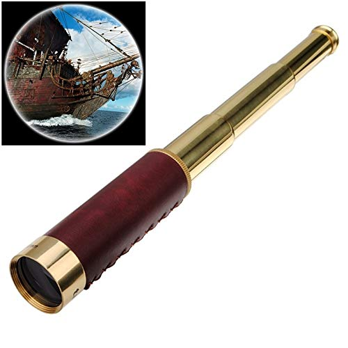 Easy Go Shopping 25x30 tragbares Piraten-Monokular-Monokular-Teleskop mit Ledertasche Camping