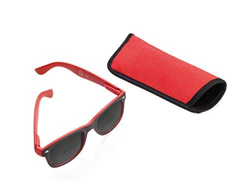 TROIKA Sun Reader Lese-Sonnenbrille mit 3 Dioptrien - SUN30/RD - rot - Bifokal Lesesonnenbrille, Stärke +3,0 dpt, TÜV-geprüft, Polycarbonat, mit Etui, rot - das Original von TROIKA