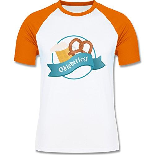 Oktoberfest Herren - Oktoberfest - zweifarbiges Baseballshirt für Männer Weiß/Orange