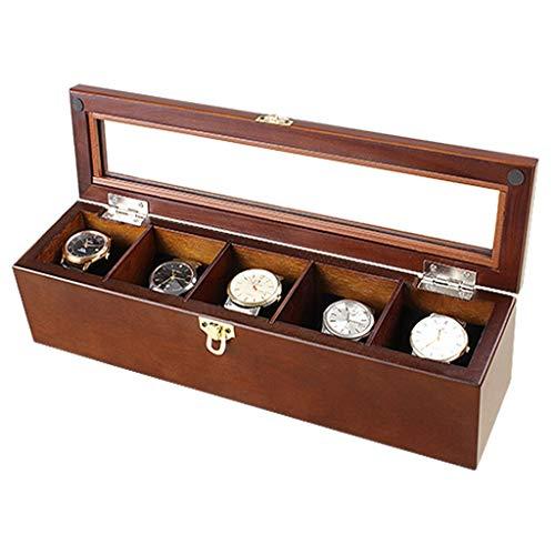 5 Slots Geschenkbox Premium Holz Uhr Display Box Fall Glas Top Collection Schmuck Aufbewahrungsbox -