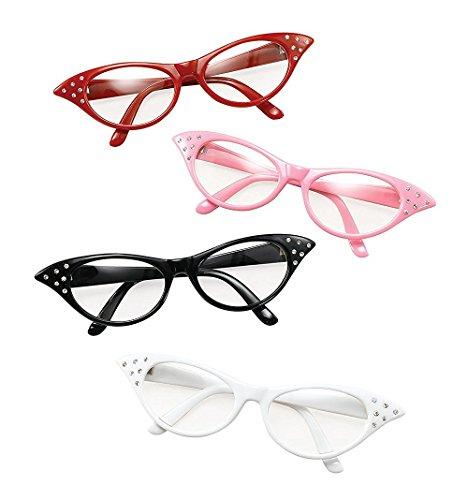 Glasses. 50s Female Style White Accessory Fancy (Roll Rock N Kostüme Uk)