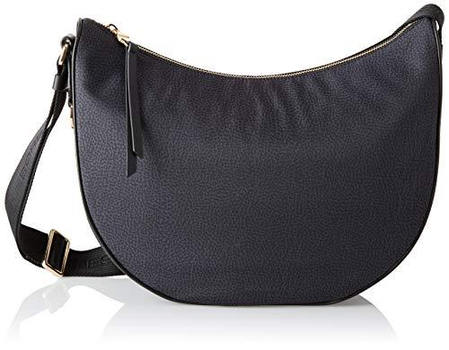 Borbonese Luna Bag, Borsa a Tracolla Donna, Nero, 30x32x12 cm (W x H x L)