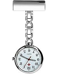 Nurse Lapel Pin Fob Watch Nursing Hanging Medical Doctor Pendant Pocket Watch (Silver)