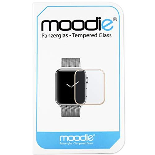 moodie Apple Watch 3-42mm Panzerglas 3D Folie mit goldenen Kanten - Premium Glasfolie für Gewölbte Displays Full Screen 3D Panzerglasfolie Curved - Full Cover vollständige Display Abdeckung