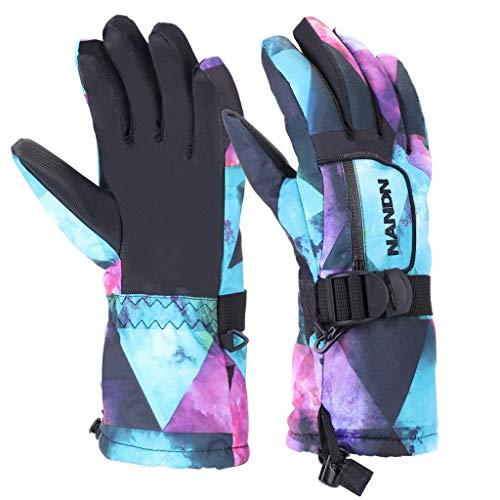 VERTAST Kinder Damen Herren Skihandschuhe Winddichte Wasserdichte Winter warme Handschuhe Fahrradhandschuhe, Blau sternenklar, M