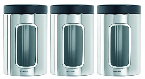 Brabantia Window Canister Set, 1.4 L - Brilliant Steel, 3 Pieces