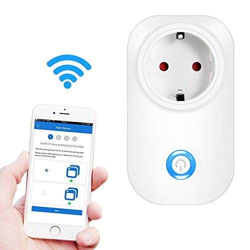 Presa WiFi Comandabile , Ubegood Spina EU Smart Plug Supporta Android e iOS Con App Dedicata e Compatibile Con Amazon Alexa Ritardante Per Fuoco - Bianco