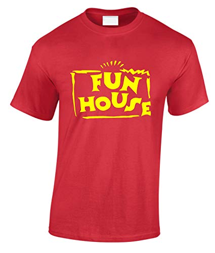 Fun House T Shirt Fancy Dress tv Adult & Kids Funny Retro 80s 90s RED Yellow (Adult L, RED Shirt)