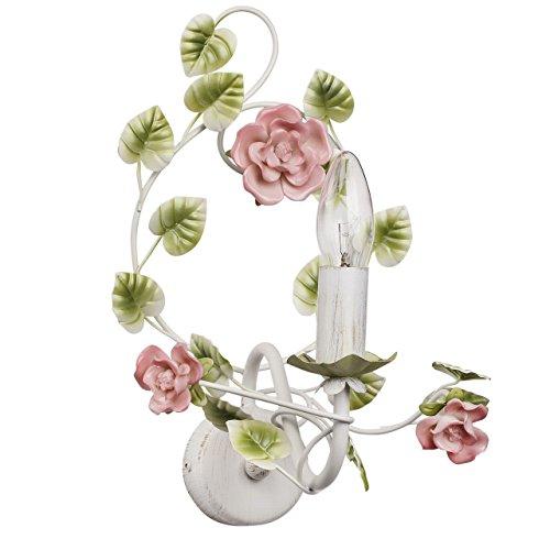 Kerzen Wandleuchte Florentiner Stil Blume Weiß Rose Grün