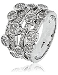1.00CTS Certified G/VS2 Brilliant Cut Fancy Four Strand Bubble Dress Ring in 18k White Gold