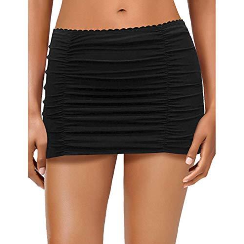 LUGOW Rock mit Slip Damen Hoch Tailliert Push Up Bademode Einfarbig Bikinioberteile Strandmode Zweiteilige Tankinis Badeanzug Bikinihose(XXX-Large,Schwarz B)