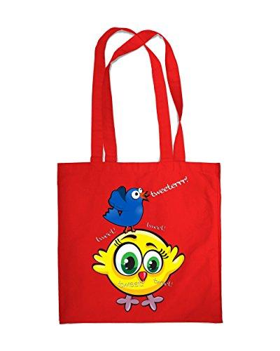 Borsa per la spesa, con nappe, 2 pezzi, motivo: uccelli, Eco-Borsa a tracolla, borsa da spiaggia Multicolore (rosso)