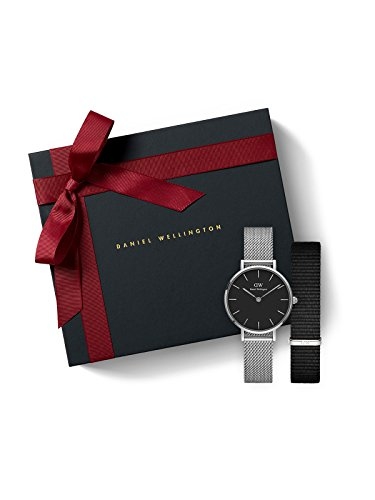 Classic Petite SterlingBlack 28mm Watchand Free Cornwall 12mm Nato Strap - Watch and Free Strap Combo image