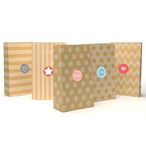 24 Geschenktüten aus hochwertigem Kraftpapier mit schönem Muster inkl. Sticker | Vintage Papiertüten für Adventskalender zum Selber-machen für Kinder | Weihnachtstüten | Geschenk-taschen