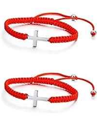 Vnox Acero Inoxidable Ankh Cruz con Buena Suerte Hecha a Mano Cuerda Roja Cuerda Trenzada Ajustable Pulsera para Mujer