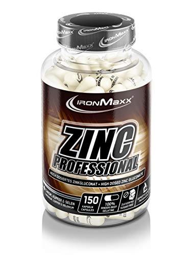 IronMaxx Zinc Professional – Kapseln mit hochdosiertem Zink, optimiert mit Chrom, Kupfer und Selen – 1 x 150 Kapseln