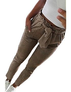 Las Mujeres Verano Casual Skinny Lápiz Pantalones Al Tobillo Trouses Con Cinturón