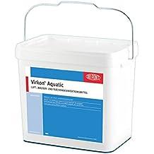 Virkon Aquatic - professionelles Wasserdesinfektionsmittel, bekämpft Viren, Bakterien und Pilze im Koiteich, Aquarium und in der professionellen Fischzucht. Virkon Aquatic ist ein starkes, komplex zusammengesetztes, keimtötendes Wasserdesinfektionsmittel mit einer einzigartigen, patentierten Wirkstoffformel. 5kg Eimer