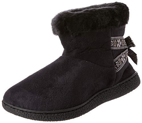 Isotoner Suedette Short Boot Slippers, Chaussons Bas Femme, Noir (Black BLK), 39 EU