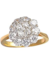 Diamond World Gold Silver CZ Ring For Women - Size: 13 (R1037)