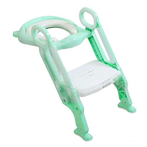 YFF-Bambino del bambino Toilet Seat Morbido e confortevole Adatto per 1-7 anni Ragazzi Ragazze Toilette Scala Stabile antiscivolo Vasino Sedia Pieghevole Bambino Bambino Toilette Formazione ( Colore : Verde )