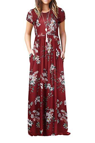 Damen Sommerkleider Kurzarm Lose Blumen Maxikleider Casual Lange Kleider mit Taschen, Burgund, S