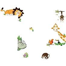 Tefamore Pegatina de pared de vinilo Animal de la selva Guardería Decoración para el Hogar Decor Mural Calcomanía para Niños