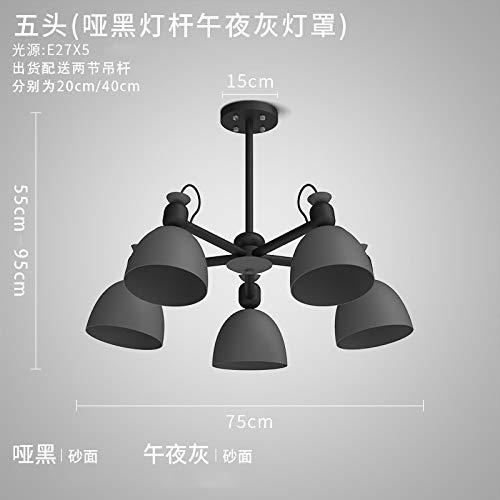 Jane European Eisenlampe 5 Kopf - dummer schwarzer Lichtmast + mitternachtsgraue Lichtabdeckung mit 9 Watt LED warmer Glühbirne