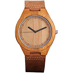 UNIQUEBELLA Wood Watch with Brown Leather Strap Japanese Quartz Movement 45mm Wooden Casual Wrist Watches
