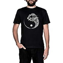 Yin Yang Bonsai Árbol Japonés Budista Zen Negro Camiseta Hombre Manga Corta Black T-Shirt Men's