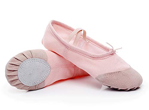 Zapatillas de Ballet con Suela Partida, Lona Transpirable con Punta en Cuero, Gomas de Sujeción Precosidas...