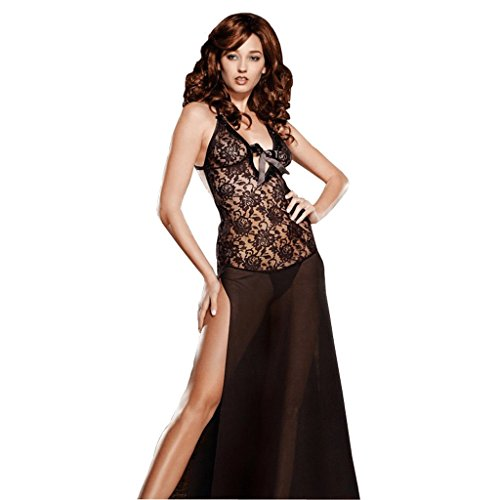Foto de Camisón para mujeres estilo largo más tamaño obesidad ropa interior ropa interior Nightshirt 45-115kg UOMUN ( Color : Negro , Tamaño : 3XL )