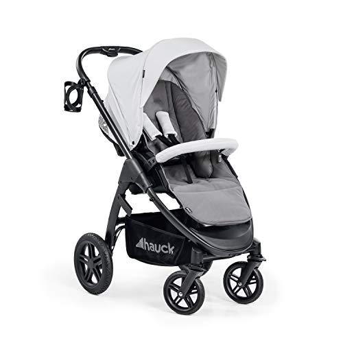 Hauck Saturn R All-Terrain Sportwagen + Beindecke, drehbar, bis 25 kg, XL Verdeck, Getränkehalter, höhenverstellbar, kompakt faltbar, kompatibel mit Babywanne & Babyschale, silber grau