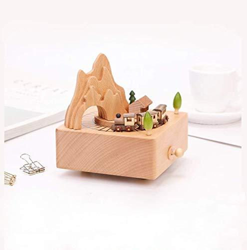Sunshier Caja de música de Madera, túnel de montaña, joyería, joyería, Regalo de Boutique, Tren magnético, Caja de música de Madera