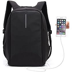 Mochila Antirrobo UBaymax USB Mochila de seguridad con cargador, Mochila Bolsa Impermeable de colegio viaje negocios, Mochila para ordenador portátil 15.6, regalo para estudiantes/hombre /mujer (USB-Negro)
