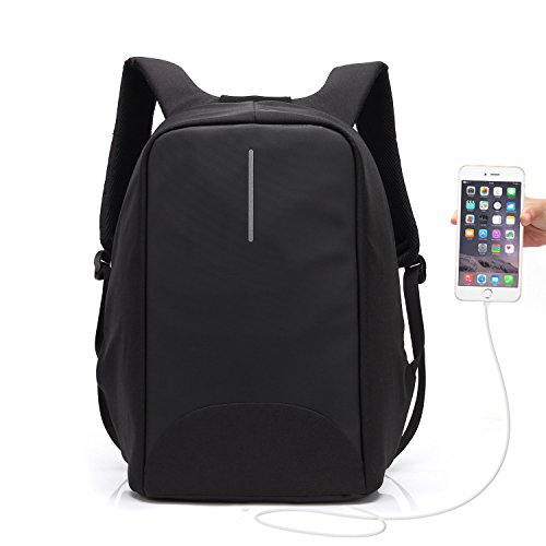 Anti-theft Charging Backpack,UBaymax 15.6 Inch Laptop Security Backpack with USB Charge Casual Rucksack Canvas Waterproof Daypack with Anti-theft Zippers,Perfect Gift for Students/Men/Women(Black)