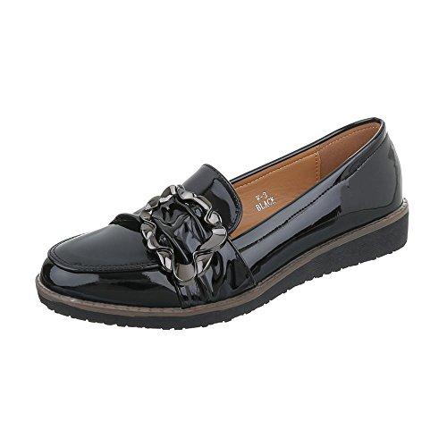 Ital-Design Chaussures Femme Mocassins Plat Slippers noir W-3-1